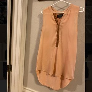Anthropologie nude peach blouse with leather tab